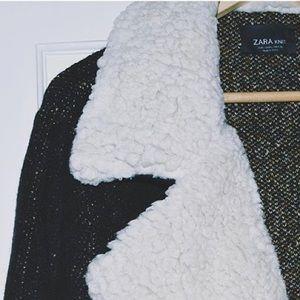 Wool blend faux shearing cardigan / jacket