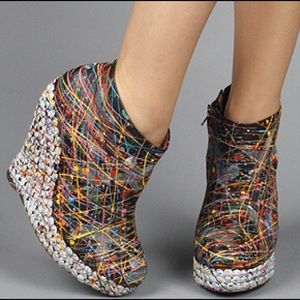 """Jeffrey Campbell Shoes - Jeffrey Campbell """"Ticket"""" Painted Stud Bootie."""
