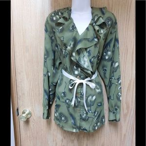 Notations Tops - Sensational Green Ruffled Blouse W/Belt-Open Sides