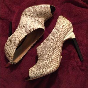 L.A.M.B. Shoes - L.A.M.B. Snakeskin Peep-Toe Stiletto Bootie.
