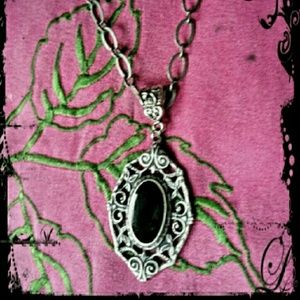 Gothic Silver-tone & Black Necklace