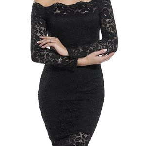 Black lace midi off shoulder sexy bodycon dress