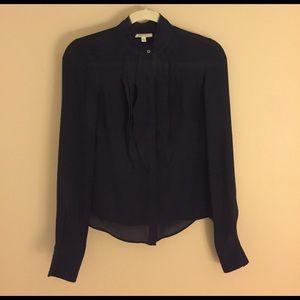 Barneys New York Tops - Barneys New York navy ruffled women's shirt