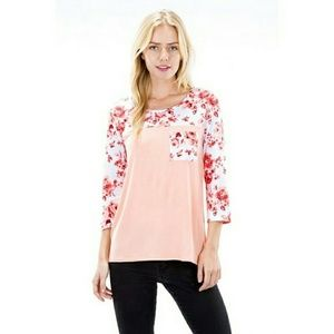 Auditions Tops - NWT* Peach Floral Print 3/4 Sleeve Top*