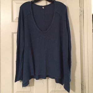 Free People Sweaters - Free People Sunset Park Blue Thermal Top.