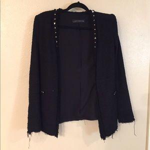 Zara studded tweed blazer