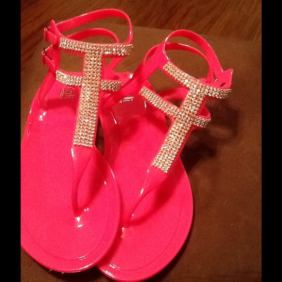 c89922071 Kali Shoes - Pink and Red Jelly T-strap Rhinestone Flat Sandals