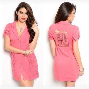 Dresses & Skirts - NWT medium (last one!!) coral caged back dress