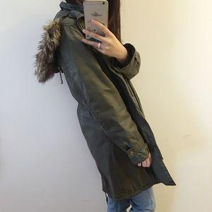 Michael Kors Green military hoodie jacket