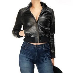 Vintage genuine leather bomber jacket