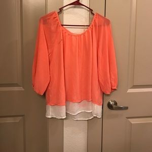Sequin Hearts Tops - NWOT neon top with back detail