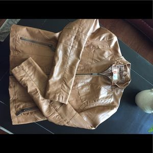 Bernardo Jackets & Blazers - Tan Faux Leather Moto Jacket Size M