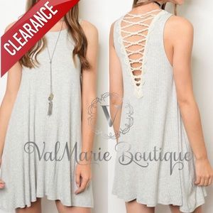 CLEARANCE Ribbed grey & Ivory lace back dress