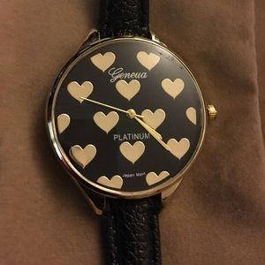 Geneva Platinum Jewelry - Geneva platinum black with gold hearts watch