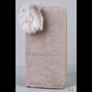 Handbags - Furry Puff Charm Suede Zip Around Wallet