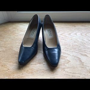 Enzo Angiolini Shoes - ENZO ANGIOLINI Navy Blue Leather Pump