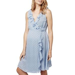 Topshop MATERNITY Dresses & Skirts - TopShop Ruffled Metallic Spot Maternity Wrap Dress