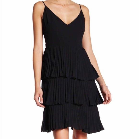9f43cfeca5c Black Vanity Room tiered pleated dress