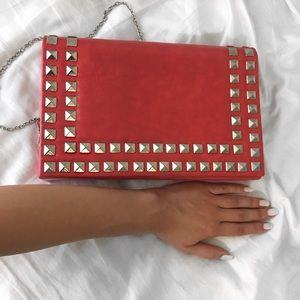 Handbags - Coral Studded Clutch