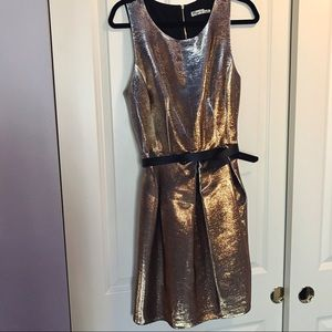 Eliza J Dresses & Skirts - Eliza J Gold Metallic Tulip Dress black belt