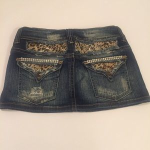 Bershka Dresses & Skirts - Denim Leopard Print Mini Skirt