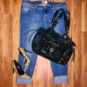 Perlina Handbags - Perlina large black leather shoulder bag hobo moto