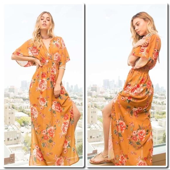 182b1f39b0054c Promesa Dresses   Flower Print Maxi With Kimono Sleeves   Poshmark