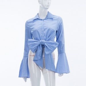 Tops - NOT 4 SALE! 🇱🇷Cotton BELL Sleeve BOW BLOUSE