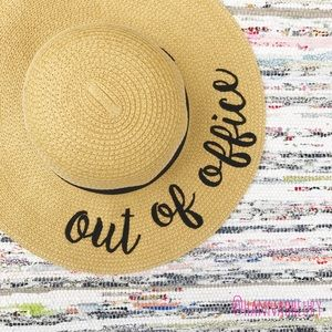"""Out of Office"" Embroidered Floppy Beach Hat"