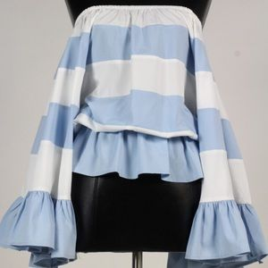 Tops - 🆕Blue/White Striped Off Shoulder Bell Sleeve Top