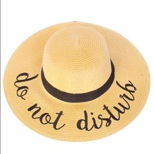 """""""Do Not Disturb"""" Embroidered Floppy Beach Hat"""