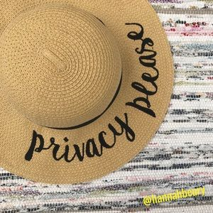 """""""Privacy Please"""" Embroidered Floppy Beach Hat"""