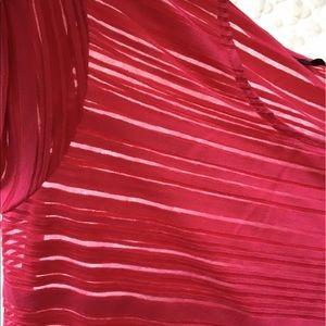 Tops - Super cute !! Pink shirt w/ see through stripes