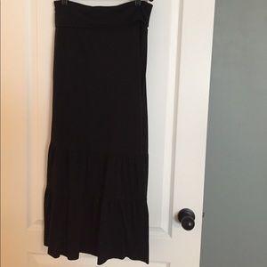 724513b9d601 Forever 21 Skirts | Black Cotton Fold Down Skirt Tiered Bottom ...
