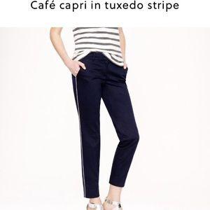 J. Crew Pants - NWT Jcrew Cafe Capri in tuxedo stripe navy