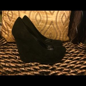 MIA Shoes - Black suede wedge shoes
