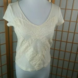Kimchi Blue Tops - Kimchi Blue cream crop top with lace