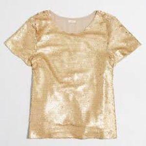 J. Crew Gold Sequin T-Shirt Tee