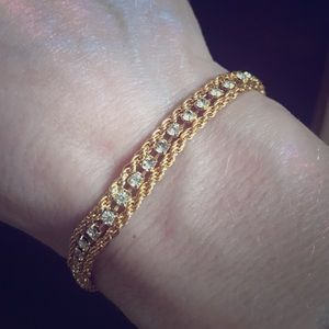 Yellow Gold Jewelry - Yellow Gold Diamond Dainty Rope Bracelet