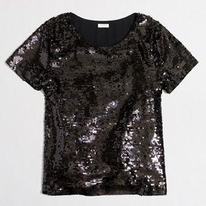 J. Crew Black Sequin T-Shirt