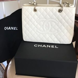 Chanel White GST - Grand Shopping Tote Authentic