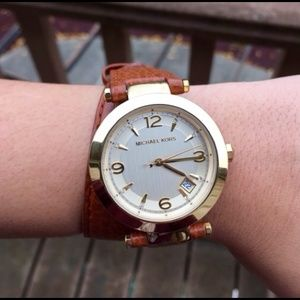 Michael Kors Accessories - MICHAEL KORS Runway Leather Double Wrap Watch