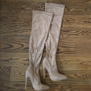 Simmi Shoes - Suede Over The Knee Simmi Stilettos