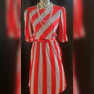 Vintage 1980's Red Striped Dress with pockets!