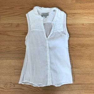 Jack Wills Tops - Jack Wills white cotton sleeveless top with details