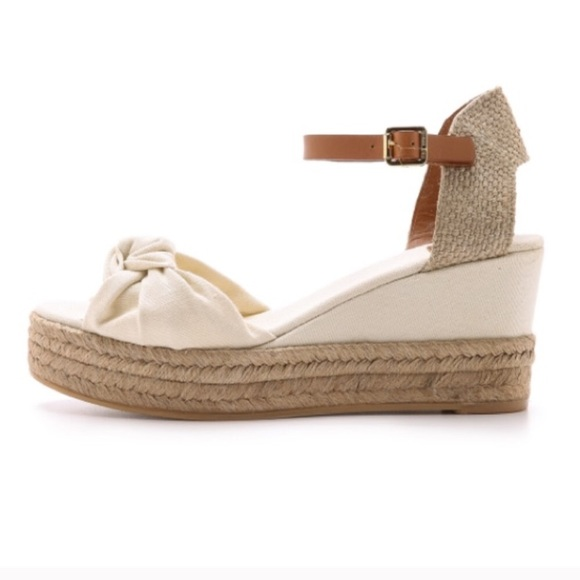 b053ad474 🆕Tory Burch Knotted Bow Canvas Espadrille Wedge 8
