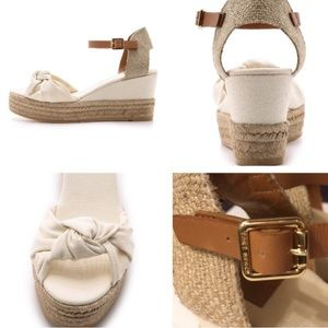 aec2c8fc5 Tory Burch Shoes - 🆕Tory Burch Knotted Bow Canvas Espadrille Wedge 8