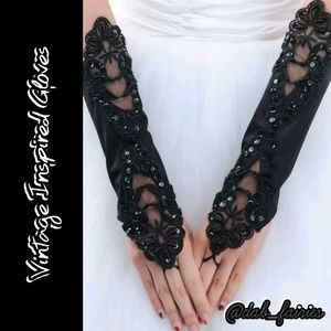 Accessories - Nwt Vintage Inspired black Gloves w/ sequins