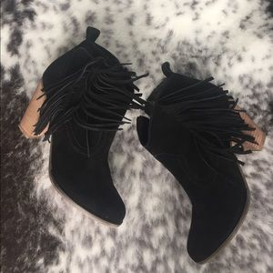 Black suede fringe booties size 6