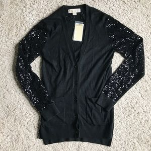 MICHAEL Michael Kors Sweaters - Michael Kors Sequin Sleeve Raglan Cardigan Black